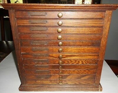 Antique Watchmaker oak Cabinet 12 drawer chest *nice condition