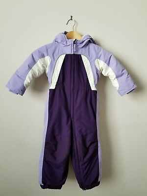 Lands End Toddler Sz 3T Winter Snowsuit Ski Insulated Hooded Warm Purple