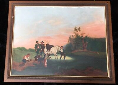 Late 19th Early 20th Cent. Fun Naive Folk Oil Painting on Board - Irish Theme