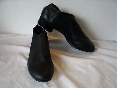 LEO's ULTRATONE Slip-On Tap Dance Shoes Size 9 Med Black Leather Great Condition