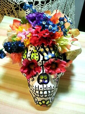Sugar Skull Day Of The Dead Silk Flowers Hand Painted Halloween Head Decoration