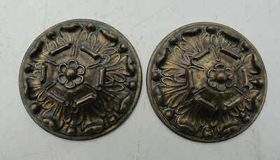 VINTAGE ANTIQUE lot of 2 flower design metal drawer cabinet pulls & back plates