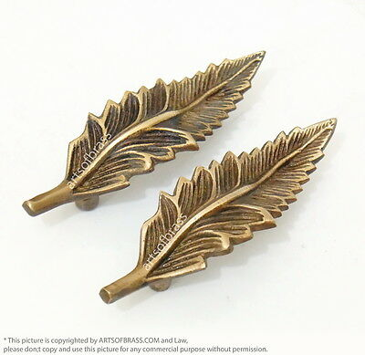 """4.21"""" inches 4 pcs Vintage Solid Brass Leaf Flowers Cabinet Drawer Handles Pulls"""