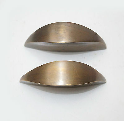 Set of 2 pcs Vintage Retro Full Plain Solid Brass Cabinet Drawer Handle Pulls