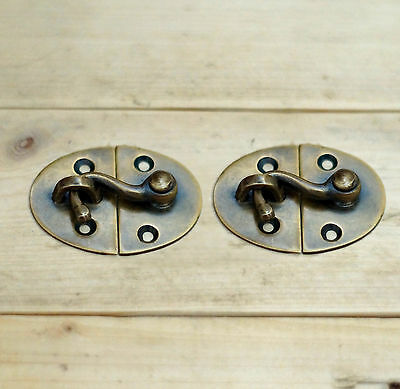Set of 2 pcs Vintage Latch Hook Antique Solid Brass Unused Latch W.033