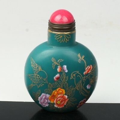 China Exquisite Handmade Floral pattern Glass snuff bottle