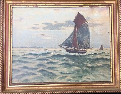 19th Cent. Ryder School Oil on Panel of Cutter Sailboat at Sea, Signed A. Jahn