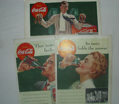 "3 Coca Cola 1939 Magazine Ads Large Magazine Format 14 1/4"" X 10 1/2"""