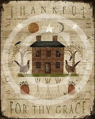 Primitive Fall Thankful for thy Grace Distressed Thanksgiving Saltbox Print 8x10