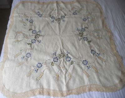 2/3Rds Worked Vintage Traced Pure Linen Table Cloth To Embroider Lace Edge