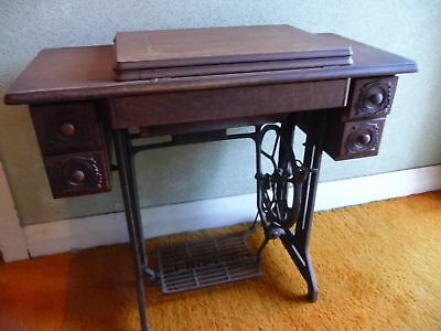 Antique Singer Sewing Machine with Table and Accessories Model 15K88