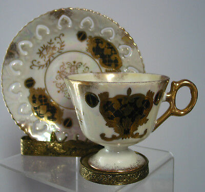 Vintage Luster Footed  Cup & Saucer  Japan, Gold & Black