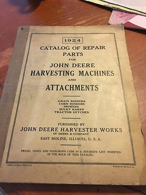 VTG 1924 John Deere Catalog Of Repairs And Parts Harvesting Machines Attachments