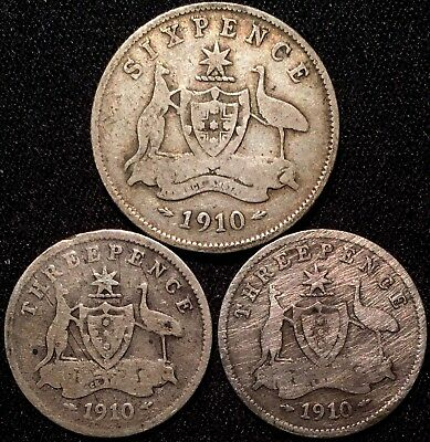 Lot of 2 Australia Threepence, 1910 - Sterling Silver Coins