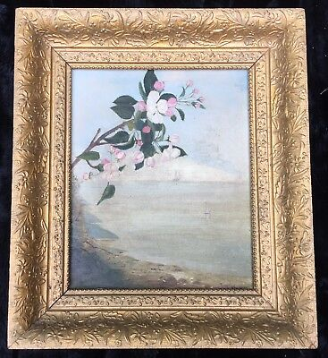 Late 19th/ Early 20th Cent. Oil on Canvas - Coastal Scene with Dogwood