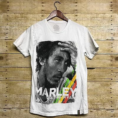 Bob Marley T-Shirt Tee White Black Fitted Graphic Rasta Reggae Women's M Medium