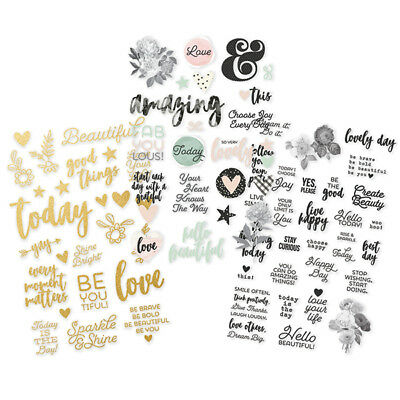 Simple Stories - Beautiful - 3 Sheets of clear Stickers with Gold Foil Accents