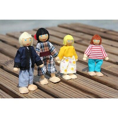 4 Cute Doll Wooden House Family People Set Kid Children Pretend Play Toy Gift Bт