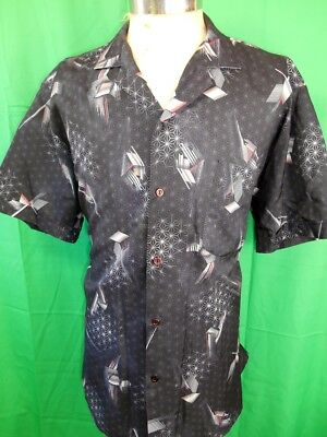Vintage 1970s Charcoal Grey Short Sleeve Polyester Patterned Disco Shirt XL