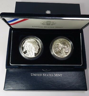 2001-P PROOF & 2001-D American Buffalo Silver Commemorative Dollar Set #14618F