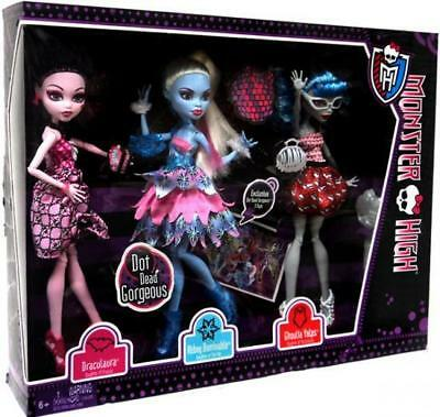 3 Pack Monster High Dot Dead Gorgeous Abbey Draculaura Ghoulia New Sealed!