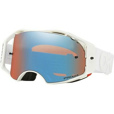 NEW OAKLEY AIRBRAKE FACTORY PILOT WHITEOUT with PRIZM SAPPHIRE LENS MX Goggles