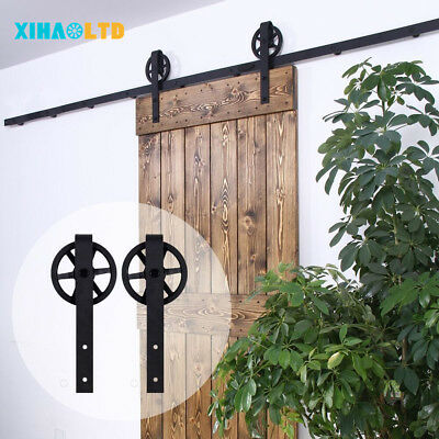 4-20FT Vintage Sliding Barn Wood Door Hardware Big Spoke Wheel Rollers Track Kit