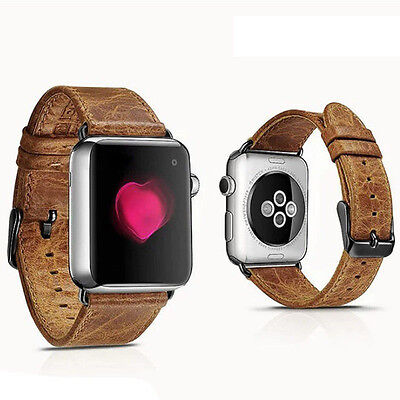 Brown Real Leather Watch Strap Band For Apple Watch 42mm Series 1 2 3 Black Fix