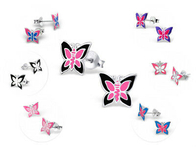 Childrens Girls Sterling Silver Butterfly Stud Earrings Pink Purple - Boxed
