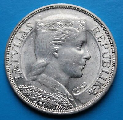 SILVER 5 lati lats LATVIA 1931 old coin Silber Lettland Lettonie