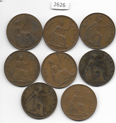 English x 8 Old Pennies All Differant