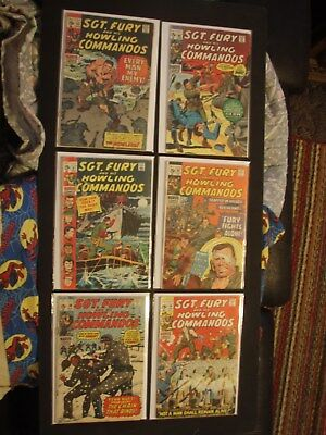 Lot Of 6 Issues Of Sgt. Fury And His Howling Commandos Comic Books