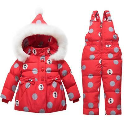 Kids Girls Boys Infant Snowsuit Puffer Down Jacket Hooded Coat Outfits Xmas Gift