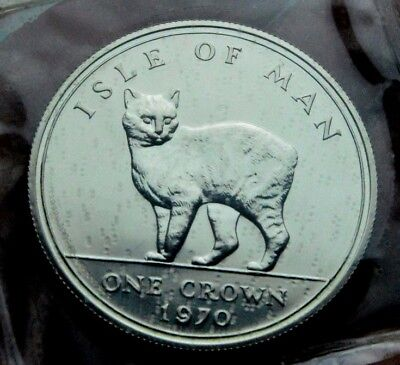 1970 Silver Proof Cat Sealed Bullion Crown Coin Isle Of Man Queen Elizabeth