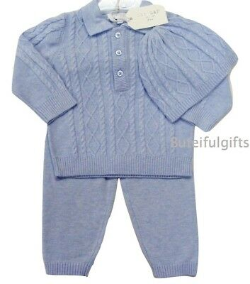 Boy's Traditional Spanish Style Blue 3 Piece Cable & Diamond Knit Set 0-24 Mths