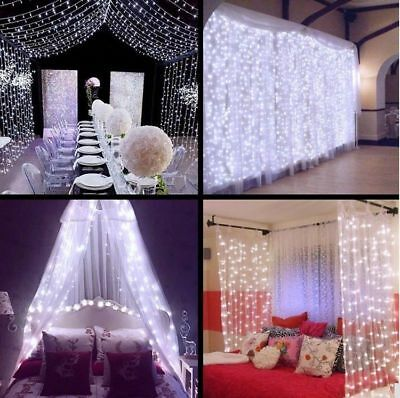 2X2M 3X3M LED Indoor Outdoor Curtain Fairy Lights Xmas Party Home Decor Light UK