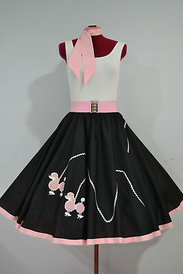 "ROCK N ROLL/ROCKABILLY  ""POODLE"" SKIRT-SCARF-BELT L-XL Black/Pink/Silver"