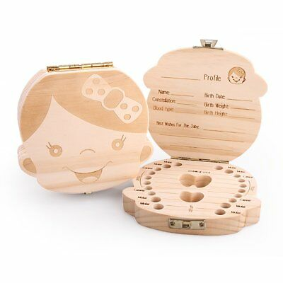 Baby Tooth Box Organizer Save Milk Teeth Wood Boy Girl Kids Storage Fairy Case