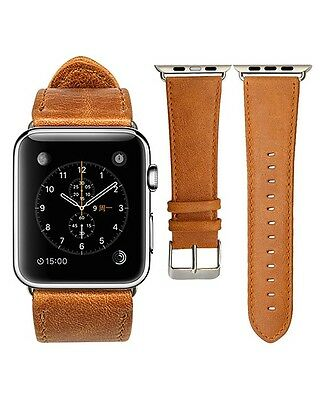Quality Vintage Brown Leather Watch Strap Band for Apple watch Series 3 42mm