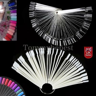 50X Nail Art Clear False Fan Display Wheel Polish Practice Color Pop Tip Sticks