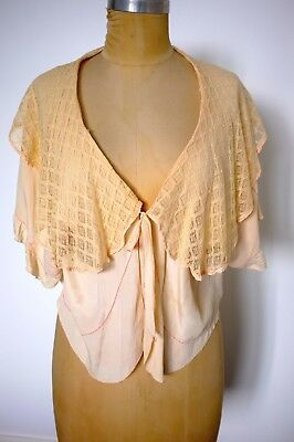 Vintage Deco Silk and Lace Wrap Top