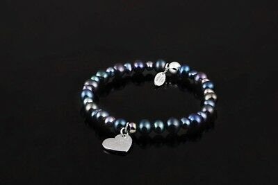 Real Black Freshwater Pearl Bracelet 925 Sterling Silver Jewelry Charm Sarulo