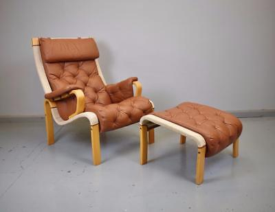 Mid Century Retro Danish Tan Brown Leather Lounge Arm Chair & Matching Footstool