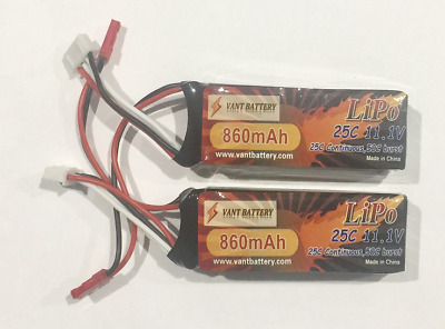 Twin Pack of Vant 860mah 3S 11.1v 25c Lipo with JST Plugs
