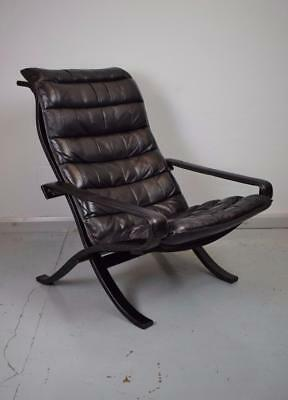 Mid Century Norwegian Leather 'Safari' Armchair by Ingmar Relling for Westnofa