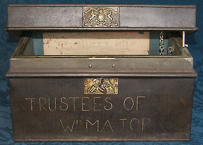 Antique Safe Strong Box Fire Proof Plus keys THOMAS Milner & Son's Miners Works