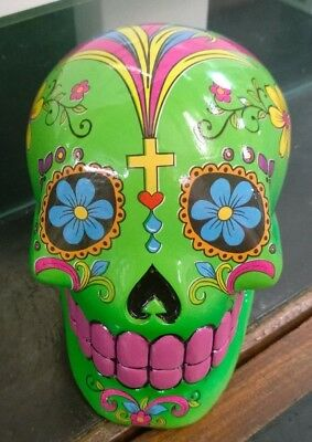 Candy Skull Day of the Dead Mexican Money Bank Green Colour New