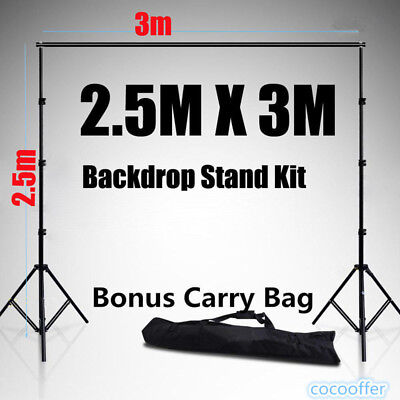 10Ft Adjustable Photography Backdrop Background Support Stand Crossbar Kit New