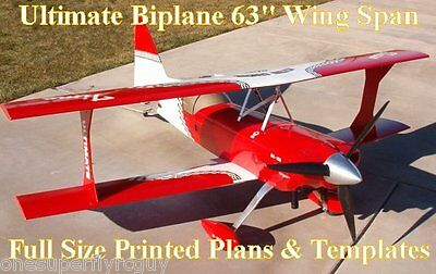 """Ultimate Biplane 63""""WS 28% Scale RC Airplane Full Size PRINTED Plans & Templates"""