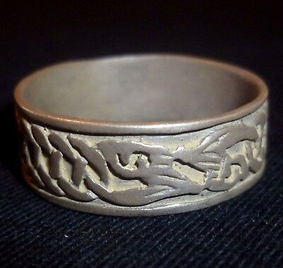 VIKING Ancient Artifact - SILVER RING - Great Details 800-1000 AD          -4945